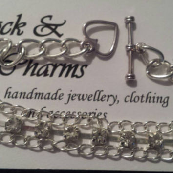 Silver plated chain and rhinestone bracelet, toggle clasp