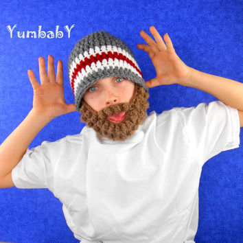 Beard Hat- Bearded Beanie- Grey White and Maroon with Brown Beard