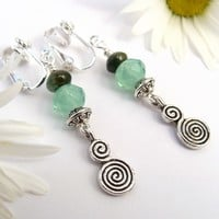 Clip-On Earrings with Jasper, Green Faceted Glass, and Spirals