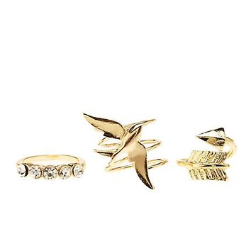 Sparrow & Arrow Rings - 3 Pack by Charlotte Russe - Gold