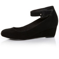 GoMax Low Grapevine 08 Black Suede Ankle Strap Wedges