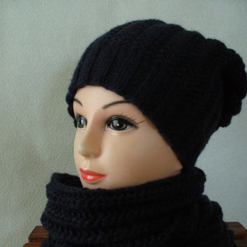 Dark blue knitted hat and kitted scarf, natural fur pom - pom, all handmade