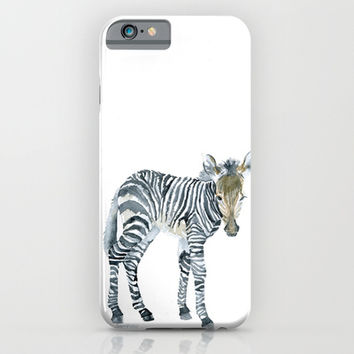 Zebra Watercolor Painting - African Animal Painting iPhone & iPod Case by Susan Windsor