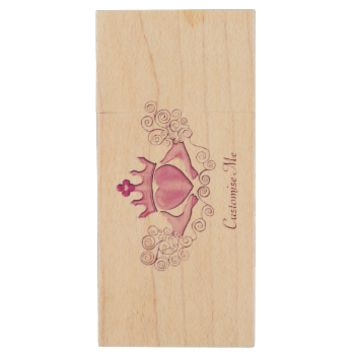 The Claddagh (Pink) Wood USB 2.0 Flash Drive