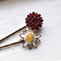 Maroon And Yellow Bobby Pin Hairpin.. on Luulla