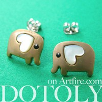 Small Elephant Earrings in Dark Silver with Heart Ears - ALLERGY FREE
