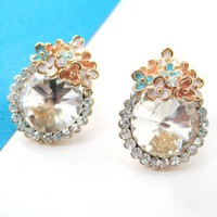 Small Round Rhinestone Classic Floral Stud Earrings