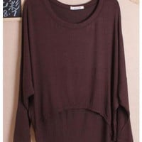 Women Autumn Euro Style Simple Loose Bat-wing Sleeve Coffee Cotton Shirt One Size@WH0036c $8.37 only in eFexcity.com.