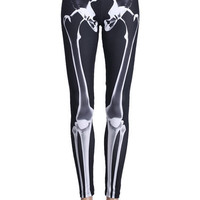 ROMWE | Bone Print Black Leggings, The Latest Street Fashion