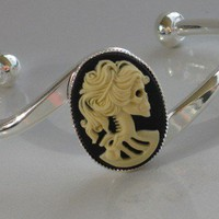 Steampunk - SKELETON DEAD LADY  Bangle Bracelet - Silver - Neo Victorian - By GlazedBlackCherry