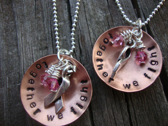 Together we fight handstamped support necklaces cancer support charity