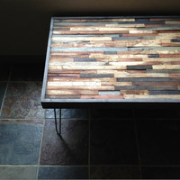 Vintage and Modern Mosaic Coffee Table - Reclaimed Upcycle Rustic Wood with Vintage Eames Style Steel Hairpin Legs