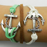 Anchor   White and green  braided leather  bracelet