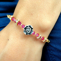 Resin rose bracelet pink jewelry swarovski bracelet best friend birthday present gifts for women mother christmas mom bracelet