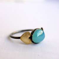Ocean Green Blue Calcedony in Sterling Silver with Brass Hearts Ring
