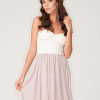 Motel Annali Strapless Cream Bustier Dress in Natural