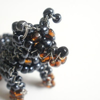 Miniature Pinscher Beaded Dog Sculpture Sitting