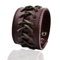 Jewelry Personalized Heavy metal punk style personality distinctive Muff rope and leather bracelet cross-weave wide bracelet. 27g