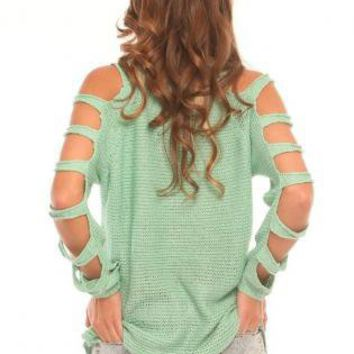 Mint Green Knit Sweater with Cut Out Sleeves