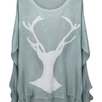 ROMWE | Deer Distressed Mint Jumper, The Latest Street Fashion