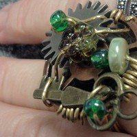 The Key to the Mystery steampunk ring by SuzeeKue on Etsy