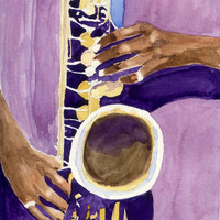 Jazz Painting Sax Player Hands Watercolor Painting