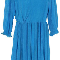 Blue V Neck Long Sleeve Pleated Dress - Sheinside.com