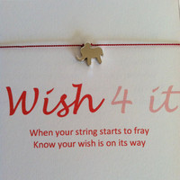 WISH FOR IT, Rhodium Plated Good Luck Elephant, Wish Bracelet, Friendship Bracelet, Charm Bracelet