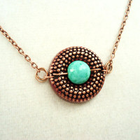 Steampunk Copper Pendant With Vintage Teal Center