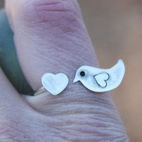 Love Bird Ring  Made to Order  Sterling Silver by thenay on Etsy