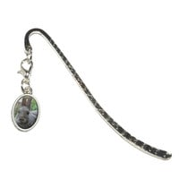 Bunny Rabbit Gray - Easter Oval Charm Metal Bookmark