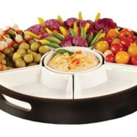 One Kings Lane - Outdoor Grilling - 7 Piece Hostess Set &amp; Wooden Tray