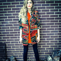 Vintage Orange Green Tribal Oversized Blazer Jacket