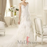 Trumpet/Mermaid Sweetheart Sweep Train  Tulle Wedding Dress at Msdressy