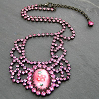 Vintage Rhinestone Necklace, Pink Rhinestone Jewelry, Pink Necklace, Collar Necklace, Vintage Jewelry, Hot Pink Jewelry