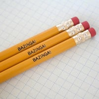 BAZINGA pencils 3 three in mustard yellow.  Your zingers are so amazing, they have their own catchphrase.