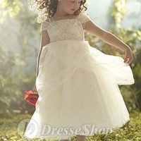 Off-the-shoulder A-line Tea Length Ruffles White Tulle Flower Girl Dress (FLGL0037) at Dresseshop