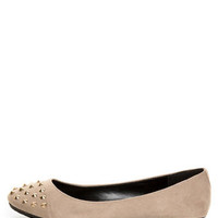 City Classified Gloria Taupe Studded Cap-Toe Flats - $19.00