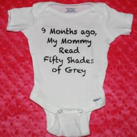Cute Funny Baby Onesuit Inspired by Fifty Shades of Grey Book Baby Shirt Child Vest 9 months ago Mommy Read 50 Shades
