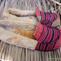 Men's Slippers Tribal Naga Woven Cotton Plush Lined