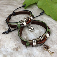Handmade Couple Leather Bracelets- Key and Lock