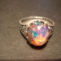 Victorian Style Fire Opal Antique Silver Ring- Adjustable (573)