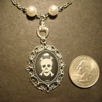 Skull and Crossbone Necklace with a Ornate Victorian Setting/Antique Silver (572)