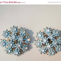 SALE Vintage Rhinestone Clip on Earrings with Blue Acrylic Flowers
