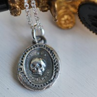 "skull wax seal necklace ""thou art as I have been"" by suegrayjewelry"