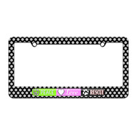 Peace Love Rescue - Pet Animal Love - License Plate Tag Frame - Polka Dots Design