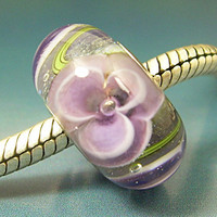 Pastel Flowers Handmade Lampwork Glass BHB European Charm Big Hole Bead sra Gelly