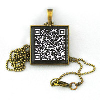 10% SALE - Custom Personalized QR Code Pendant Black and White Reverse Necklace - Personalized Url Web Address Cell Number sms or Message