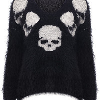 ROMWE | Knitted Skull Print Black Jumper, The Latest Street Fashion