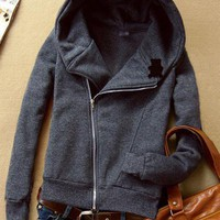 Deep Gray Hooded Zip Long-sleeved Panda Sweatshirt - Designer Shoes|Bqueenshoes.com